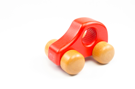 wooden toy: wooden toy car isolated on white background