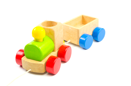 wooden toy: wooden toy train isolated on white background