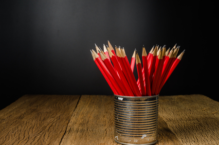 wooden pencil in tin can , Idea for offices, schools, home,