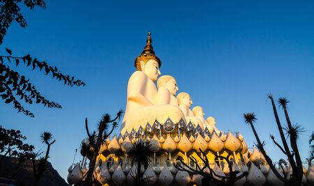 public domain: White big buddha statue at wat phasornkeaw at the sunset ,Thailand