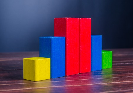 leading education: Concept of growth in business,stack of wooden block,bar graph