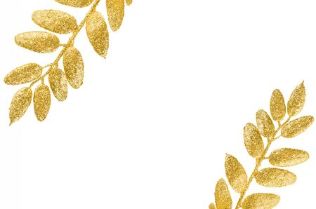 frame from gold leaf isolated on white background,frame gold leaf for decoration