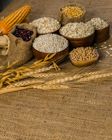Cereal grains and seeds,beans on sackcloth, agriculture products .job's tears ,corns ,soybeans ,oat flakes ,barley flakes ,pearls barley ,red beans ,