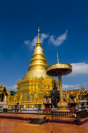 Golden pagoda in Wat Phra That Hariphunchai at the north of Thailand,