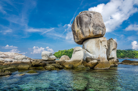 Stacked big stone island with clear water at the south of Thailand