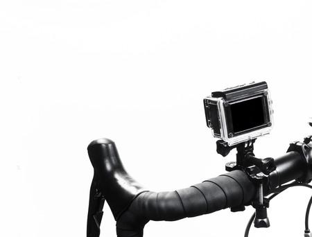 action camera mounted on bike isolated on white background Stockfoto
