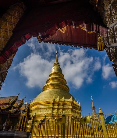 Golden pagoda in the north Thailand,Wat Phra That Hariphunchai