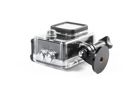 action camera in waterproof case isolated on white background