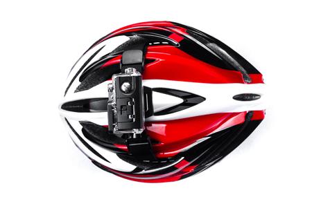 action camera mounted on bike helmet isolated on white background