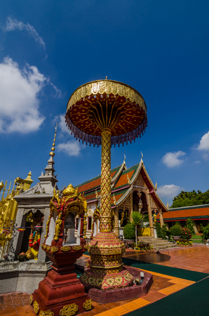Golden unbrella in Wat Phra That Hariphunchai at the north of Thailand,