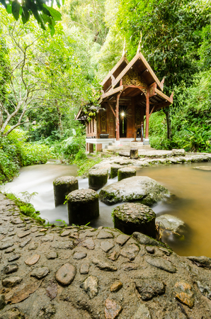 Church near waterfall in the forest at the northern of Thailand,Mae kampong ,Chiangmai