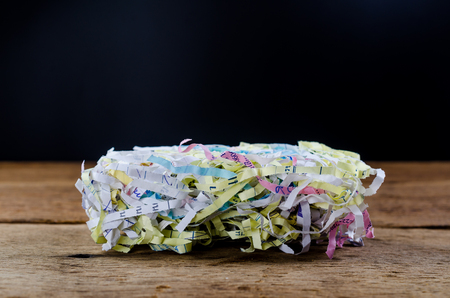 Pile of shredded paper for recycling