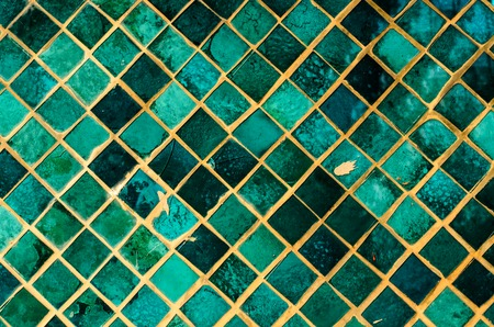 Green mosaic glass art background