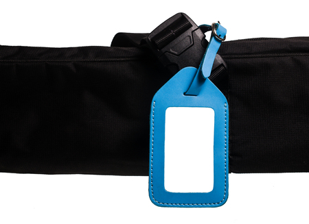 blue leather luggage tag isolated on white background