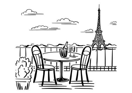 A romantic evening in a cafe on the terrace overlooking Paris. Hand drawn sketch. Vintage style. Black and white vector illustration isolated on white background. Ilustração Vetorial