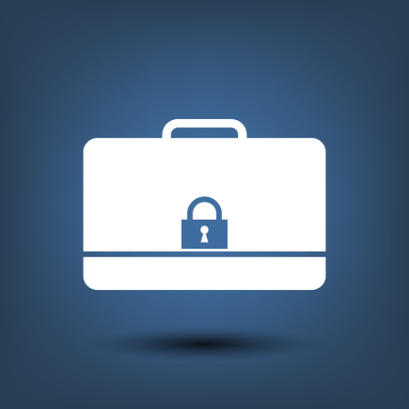 secured: Modern flat vector icon of secured briefcase.