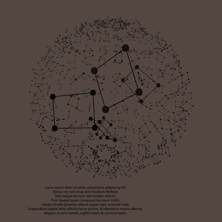 exploded: Wireframe Polygonal Element. Exploded 3D Sphere with Lines and Dots vector illustration design