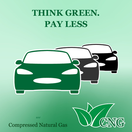 recharging: Natural gas runned vehicle poster vector illustration design
