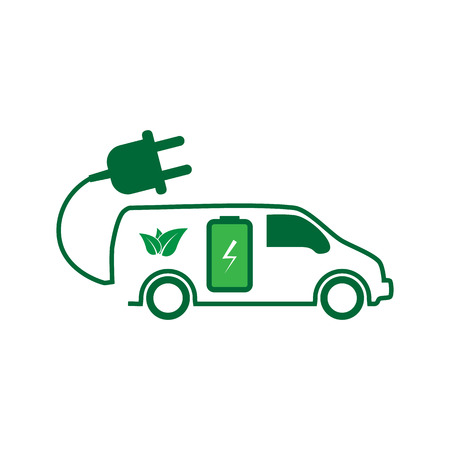 power station: E-car. Eco car. Electric icon. Charging electric car vector illustration design