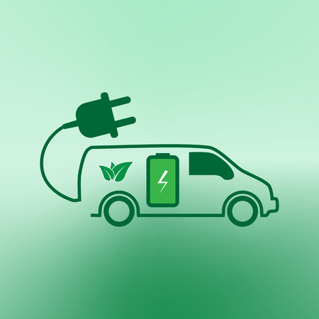 recharging: E-car. Eco car. Electric icon. Charging electric car vector illustration design