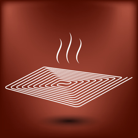 floor heating: Floor heating vector icon at red background Illustration