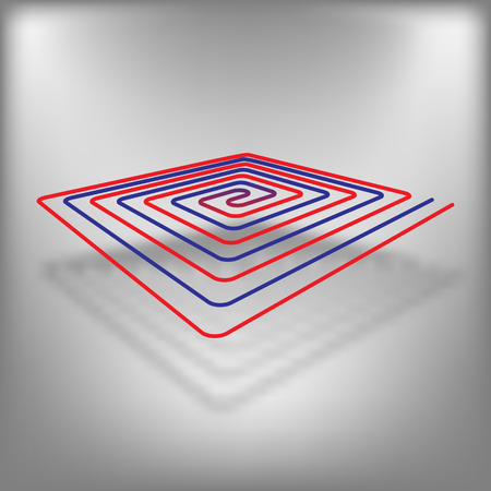 Floor heating vector icon at red background Illustration