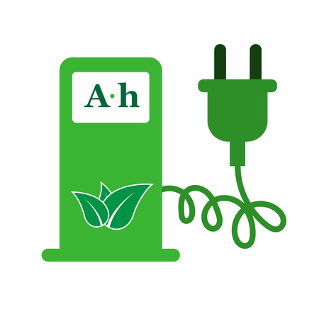 Elektro-Auto Ladestation Zeichen-Icon- Vektorgrafik