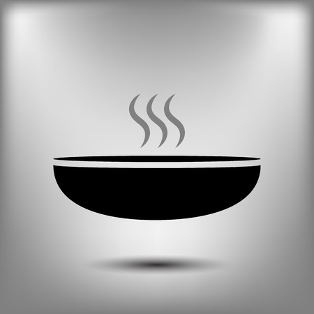 hot plate: Hot proper meal plate vector icon