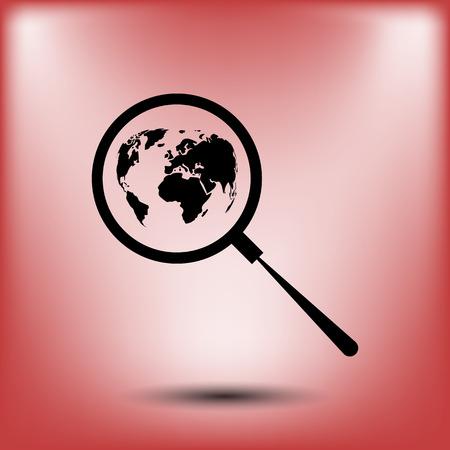 analyzing: Analyzing the world. Magnifier glass with globe