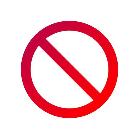 segno vietato isolato su bianco