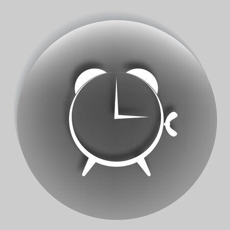 suface: Flat paper cut style icon of alarm clock. Vector illustration Illustration