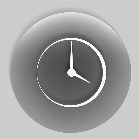 Flat round clock stock vector icon. Illustration
