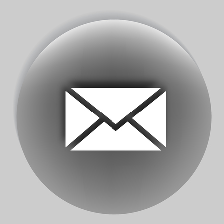 unread: Flat paper cut style icon of envelope. SMS or E-mail symbol Illustration