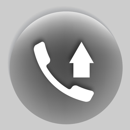 hangup: Flat paper cut style icon of outcoming call. Vector illustration Illustration