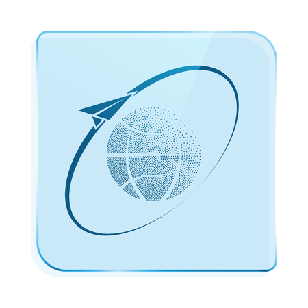 business globe: Airplane fly around the planet Earth. Logo.