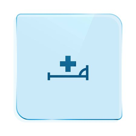 healthiness: Vector icon with bed and cross. Hospital sign Illustration