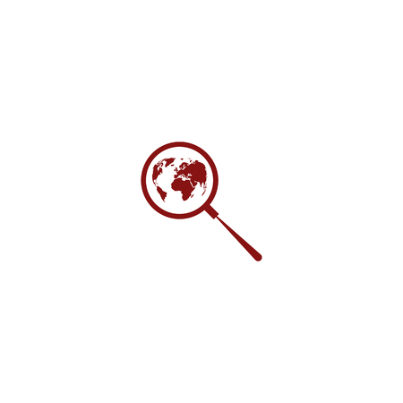 analyzing: Analyzing the world. Magnifier glass with globe vector illustration Illustration