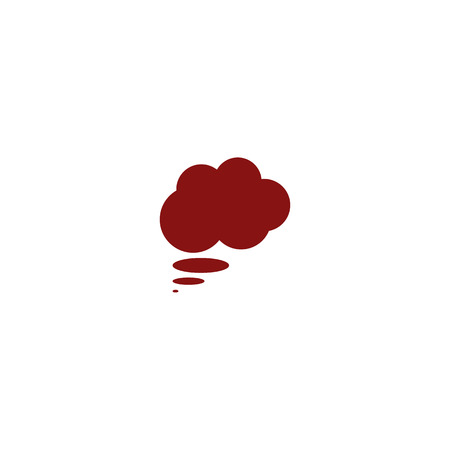 thought cloud: Flat paper cut style icon of thought cloud. Vector illustration