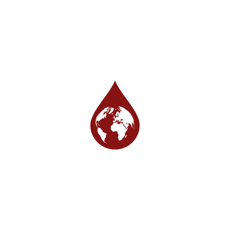 waterdrop: Earth in water-drop stock vector icon illustration