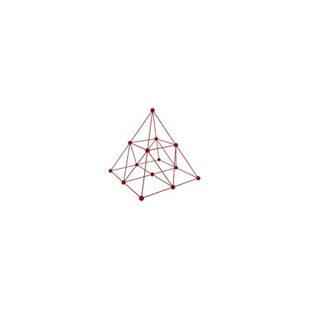 wire frame: Wire frame shape. Pyramid with connected lines and dots. Vector Illustration Illustration