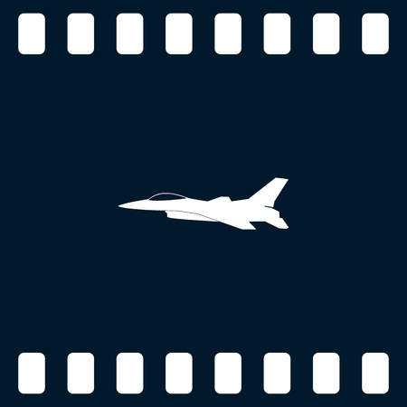 fuselage: Jet fighter icon. Vector airplane silhouette isolated on white background.
