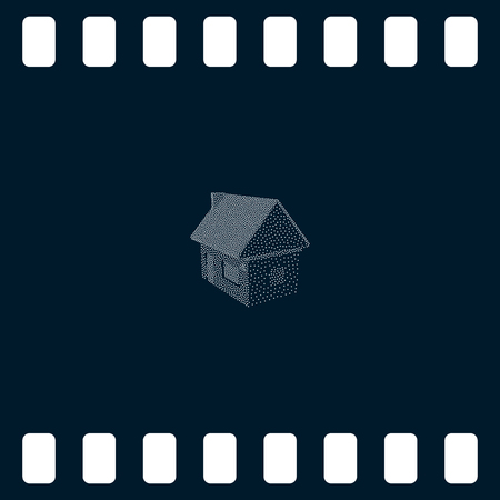 diminishing perspective: Flat paper cut style icon of house model vector illustration Illustration