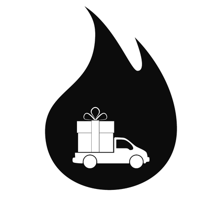 motorizado: Flat paper cut style icon of vehicle. Delivery car symbol vector illustration