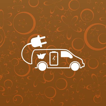 recharging: Flat paper cut style icon of an eco car. Vector illustration Illustration