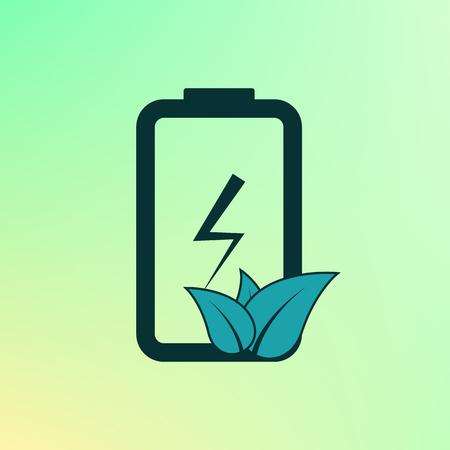 Eco Energie-Batterie-Symbol. Batterie Mit Blättern. Bunte Ökologie ...