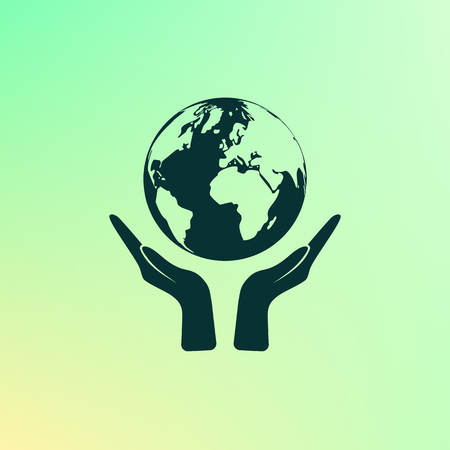 hands holding earth: Flat paper cut style icon of two hands holding Earth. Vector illustration