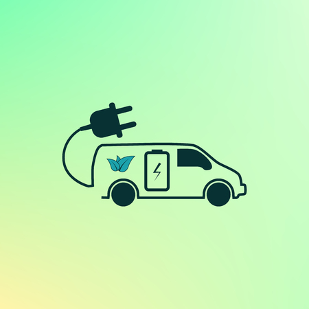 Flat paper cut style icon of an eco car. Vector illustration Illustration