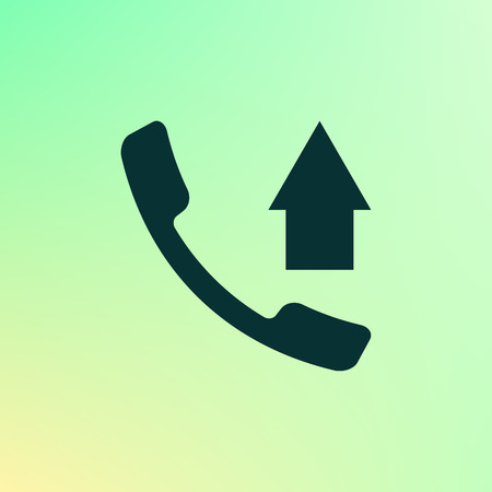 caller: Flat paper cut style icon of out-coming call. Vector illustration