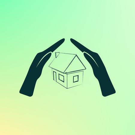 demolishing: House insurance icon Illustration