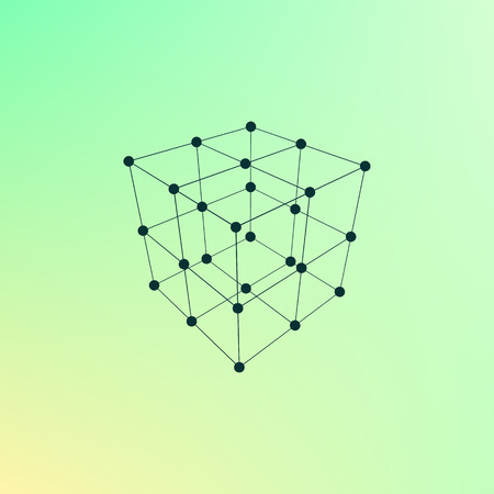 wire frame: Wire frame Polygonal Element. Cube with Lines and Dots. Vector illustration Illustration